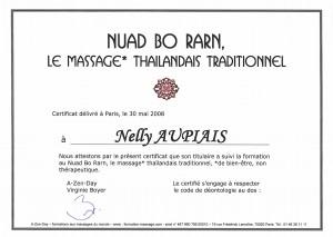 Certificat de stage en massage Thailandais